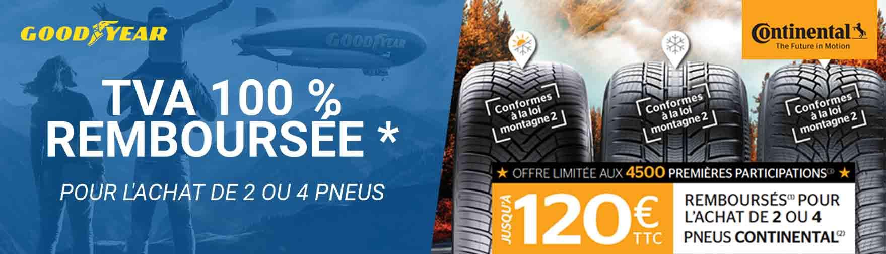 Les offres pneumatiques du moment - Goodyear, Dunlop et Continental